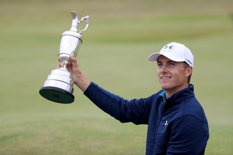 Jordan Spieth holds the Claret Jug following his victory in the 2017 British Open.
