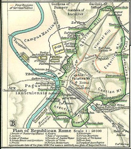 Republican Map of Rome - c. 40 B.C.