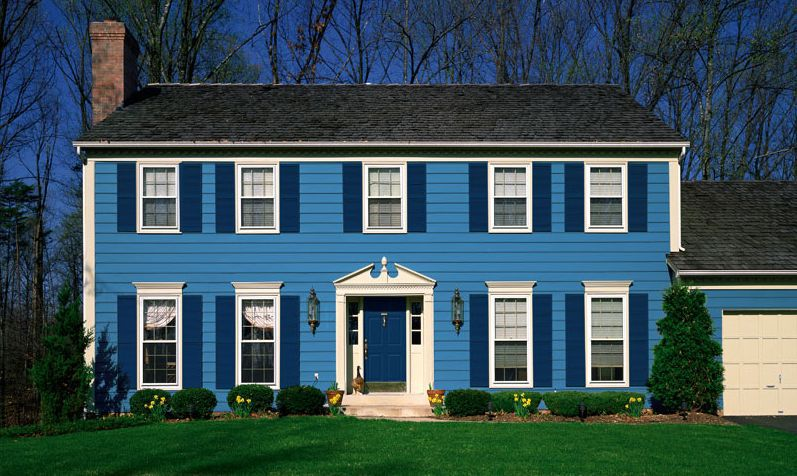 dutch boy blue exterior house paint color - Farmhouse Exterior Colors