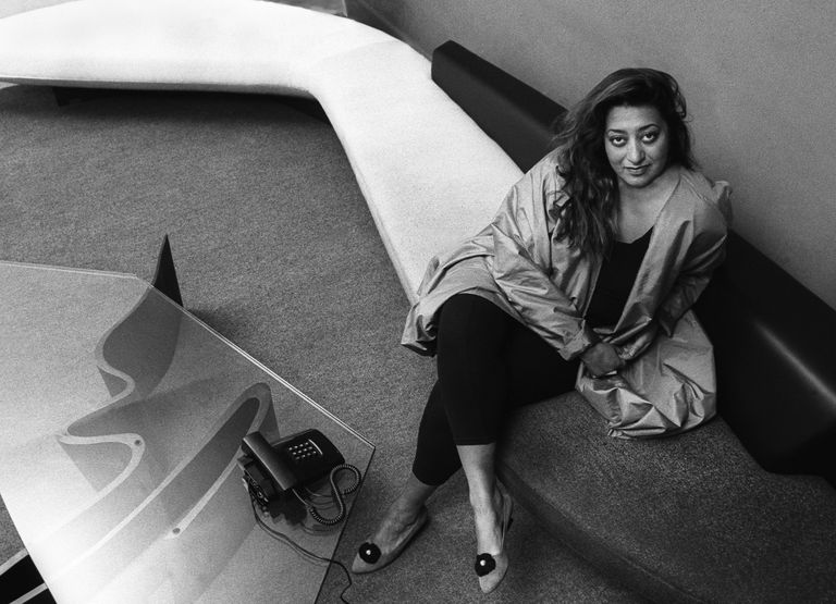 Black and white photo of Iraqi-born architect Zaha Hadid in her London office, 1985