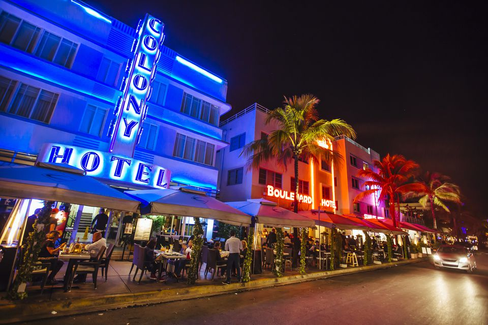 Ocean Drive at night, Miami beach, Florida, USA