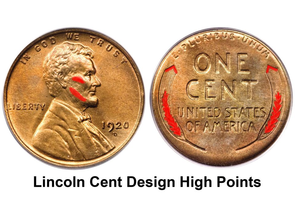 Lincoln Wheat Cent Design High Points