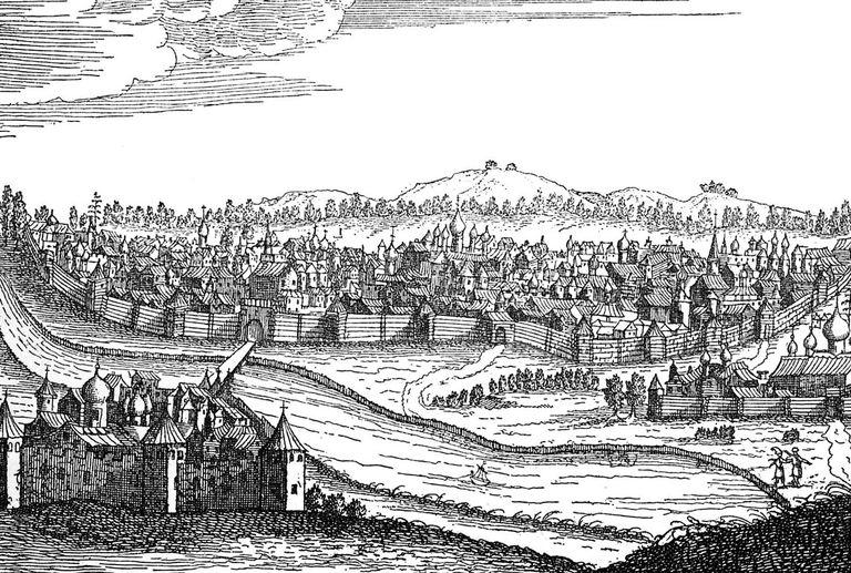 Illustration of Viking Log Homes in Great Novgorod across the Volhov River, Novgrad, Russia