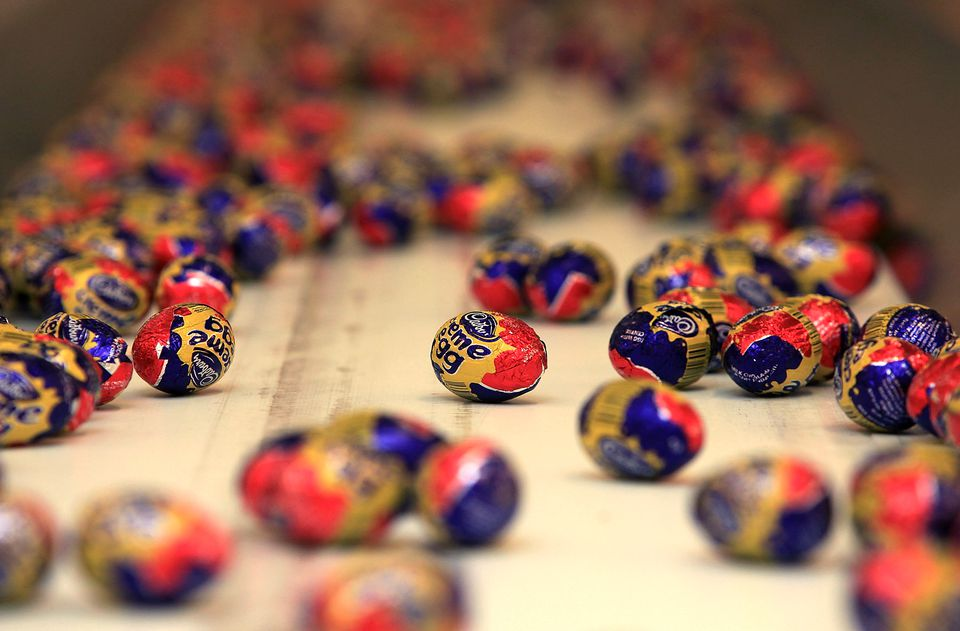 Cadbury's Creme Eggs move down the production line at the Cadbury's Bournville production plant