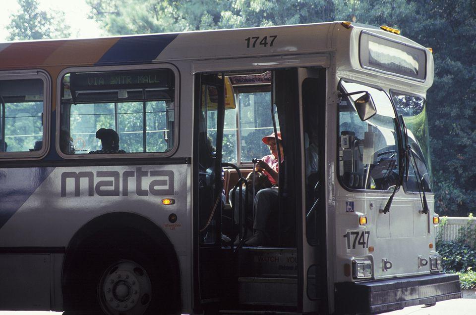 A bus waiting for passengers at the Metropolitan Atlanta Rapid Transit Authority station