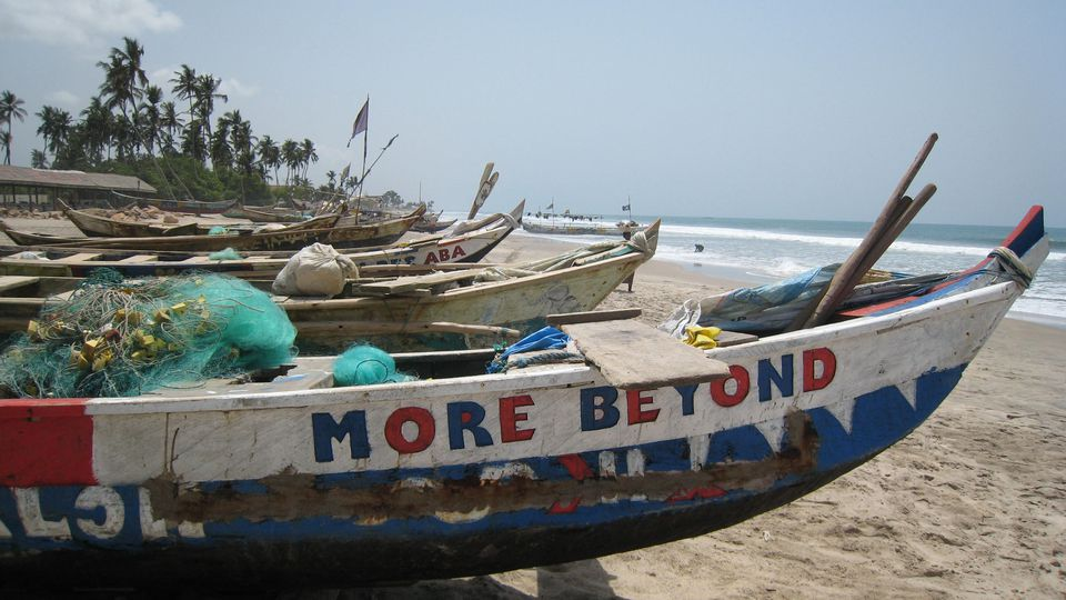 Painted fishing boats, Kokrobite, Ghana
