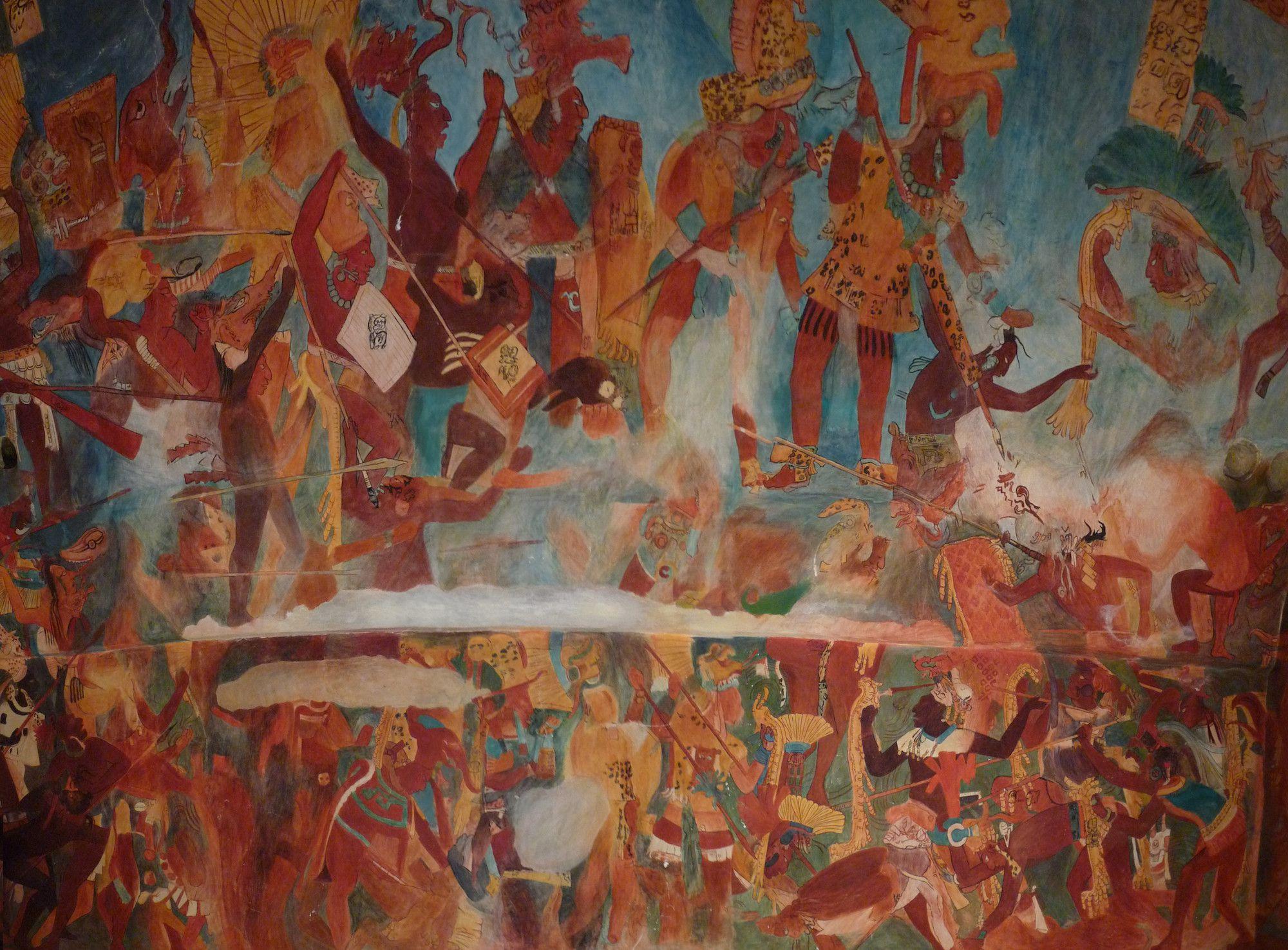 Ancient mayan warriors and warfare for Bonampak mural painting