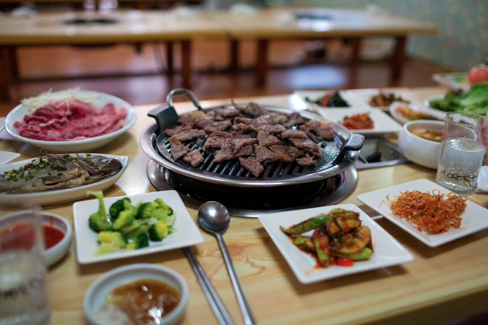 korean meal with beef galbi