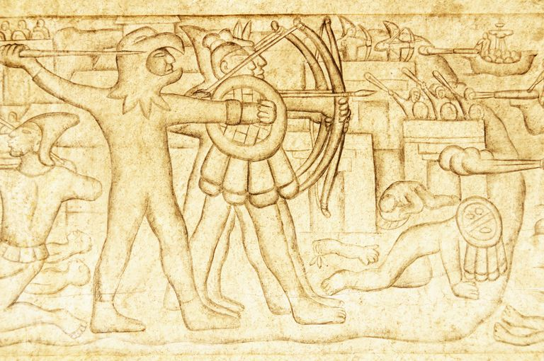 art illustrating Aztec warriors fighting against the Spanish