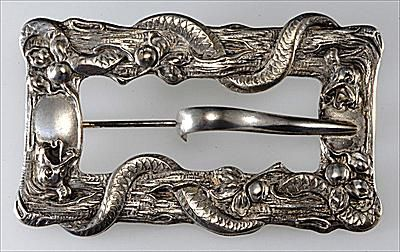 Victoiran Sash Pin with Garden of Eden Serpent and Apple Motif