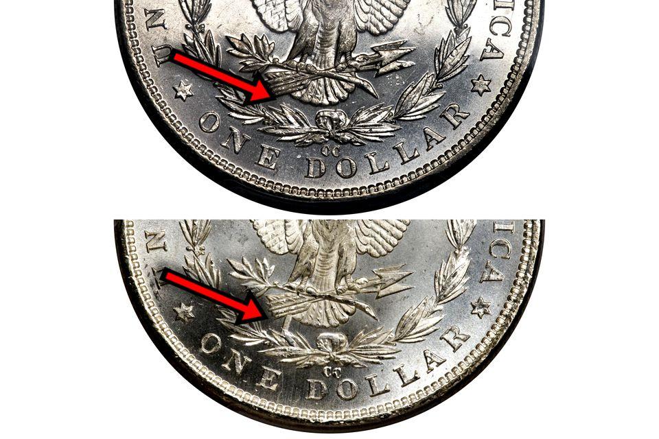 1890-CC Morgan Silver Dollar Illustrating the Tail Bar Die Gouge VAM-4 [4 III2 3 C3d (Far Date, Tailbar Die gouge) (178) I-5 R-5]