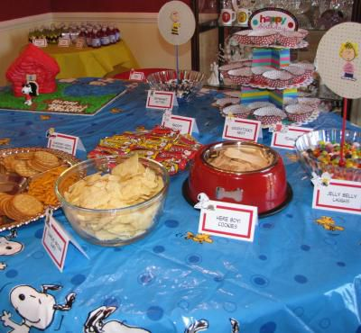 A picture of food at a Snoopy party