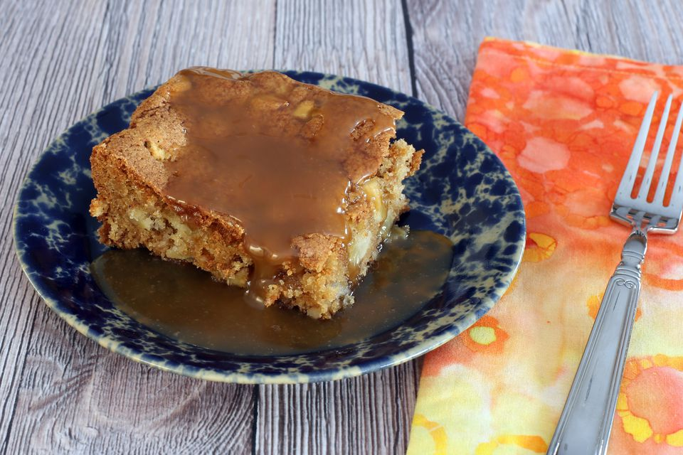 Apple Cake With Walnuts and Butterscotch Sauce