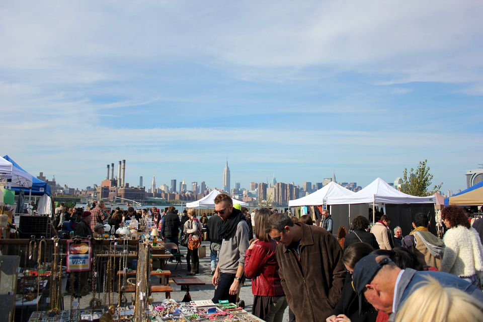 People shopping at the Brooklyn Flea Market.
