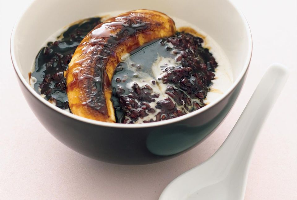 Black rice pudding with carmelized banana