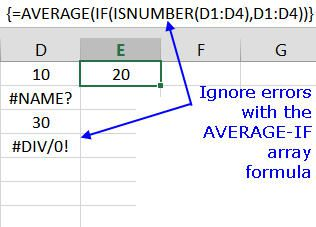 Use the AVERAGE-IF Array Formula to Ignore Errors