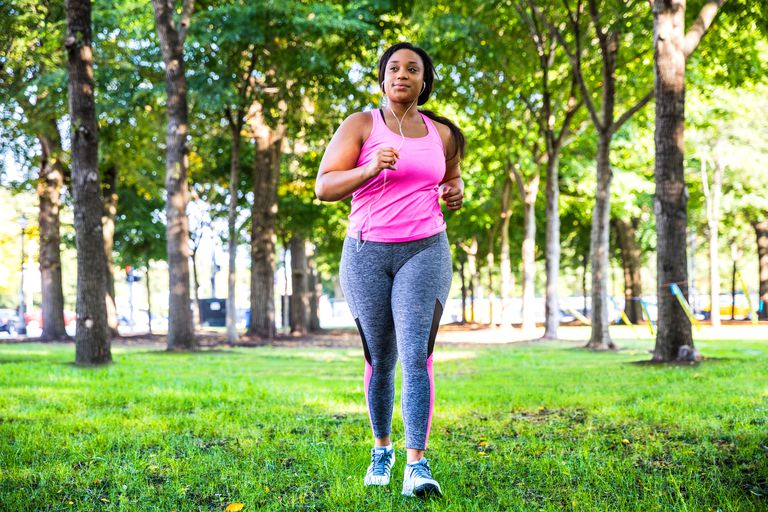 Woman running in the park outside