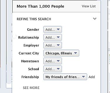 Facebook people search filter