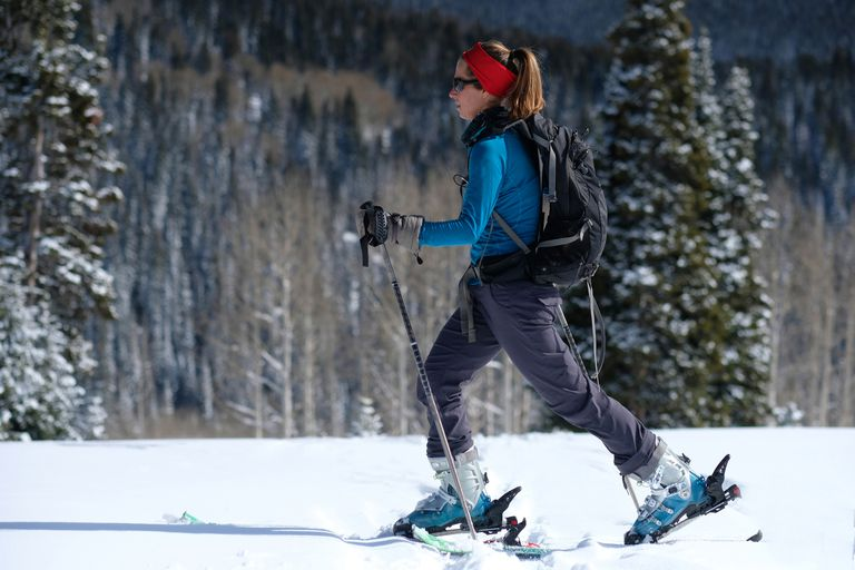 Woman backcountry skiing on Rabbit Ears Pass in Colorado