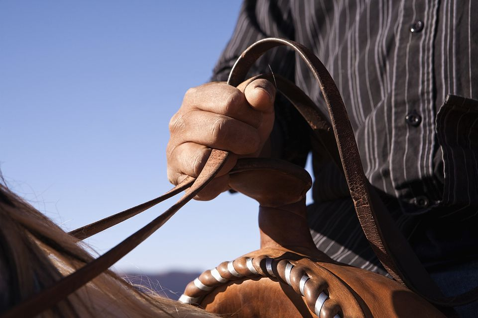 a man holding horse reins in the western style