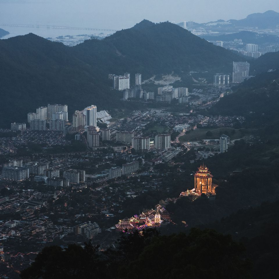 Aerial view over Penang including Georgetown and Kek Lok Si Temple from Penang Hill.