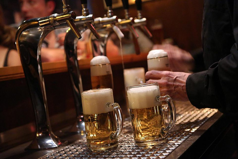 Beer is poured at a bar in Berlin.