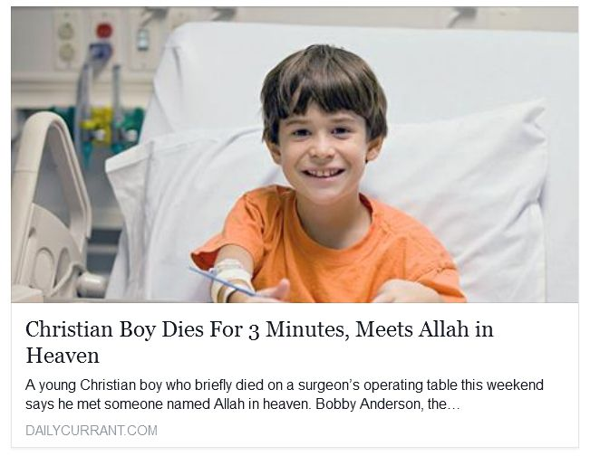 Christian Boy Dies For 3 Minutes, Meets Allah in Heaven