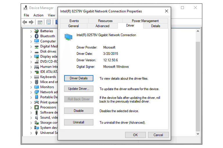 Screenshot of the Driver tab in Device Manager where the Roll Back Driver feature is located