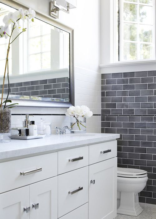 pictures of gray and white bathrooms. White Bathroom with Gray Subway Tile 17 Classic and Bathrooms