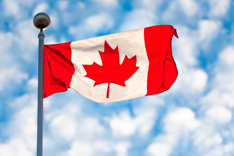 Toronto,Canada: Canadian National Flag Waving on a partially cloudy sky