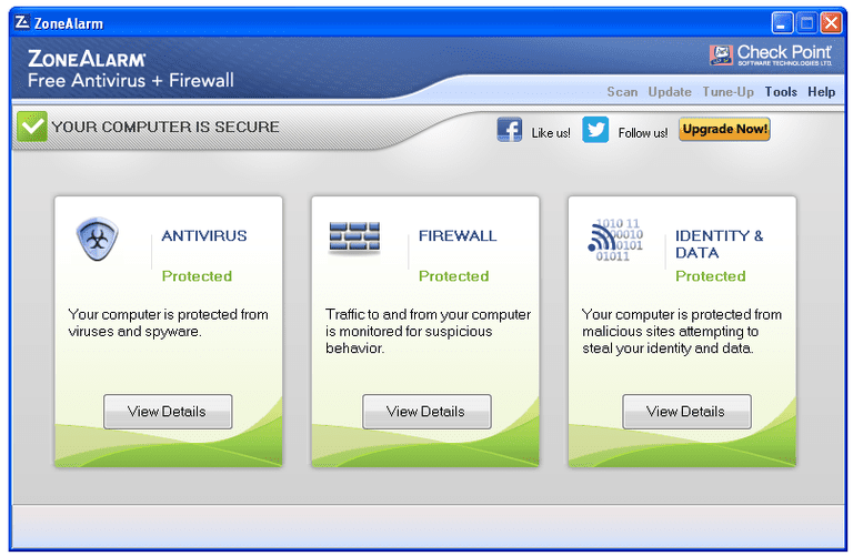 Screenshot of ZoneAlarm Free Antivirus + Firewall in Windows XP