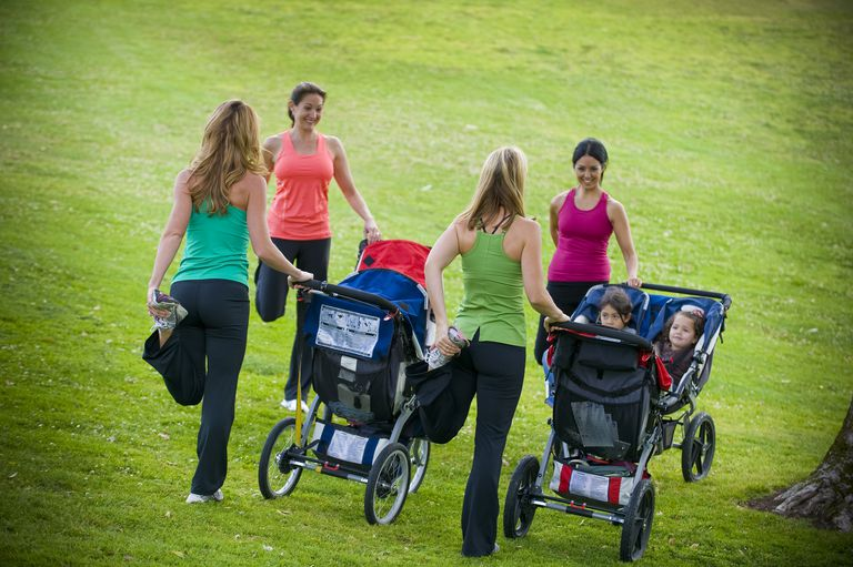Moms with running strollers