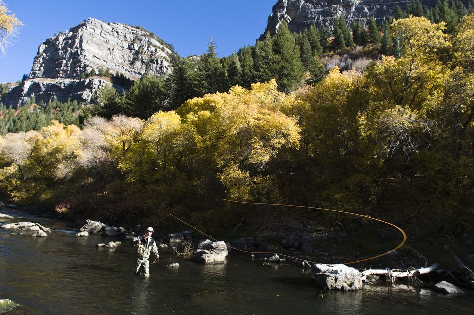 Fly fishing the Provo River in autumn