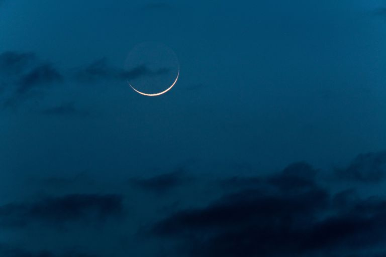 New moon with earthglow