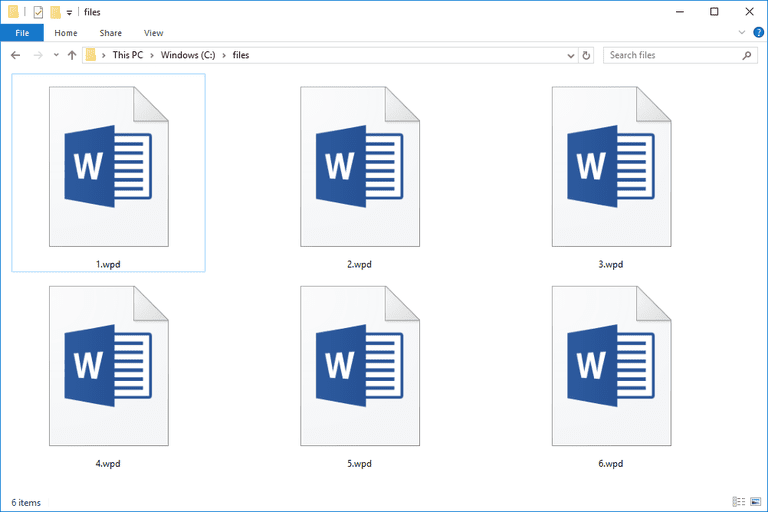 Screenshot of WPD files in Windows 10 that open with Microsoft Word