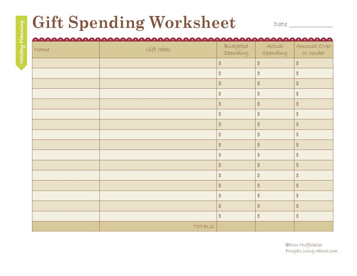 worksheet Spending Plan Worksheet how to budget holiday gift spending worksheet