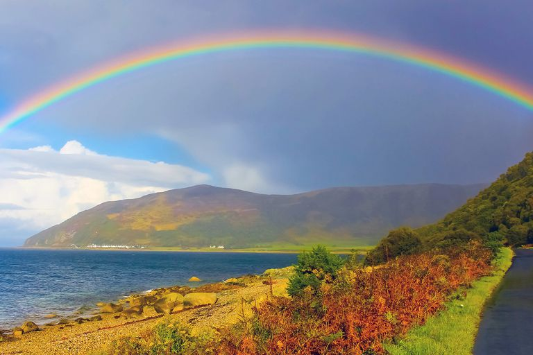 A rainbow is an optical effect. It does not consist of matter.