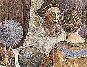 Section From The School of Athens, by Raphael. Zoroaster holding a globe talking with Ptolemy.