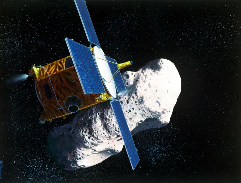 NASA painting of the NEAR spacecraft nearing the asteroid Eros