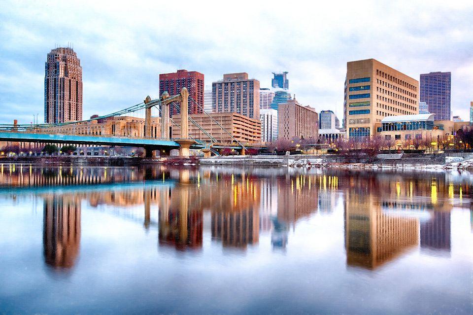 The skyline of downtown Minneapolis.