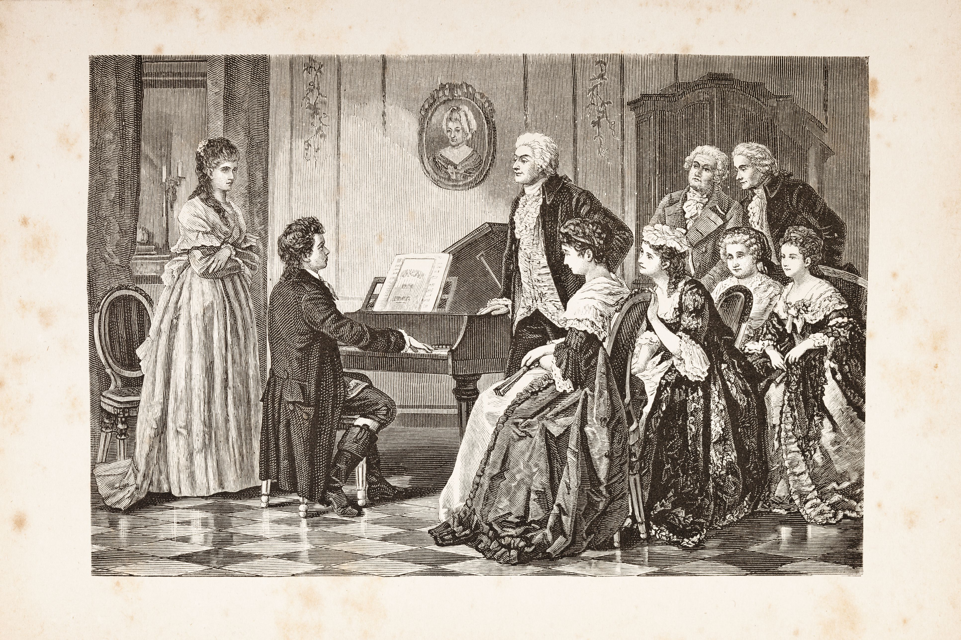 the greatest composers of the classical period steel engraving of composer mozart and beethoven from 1882