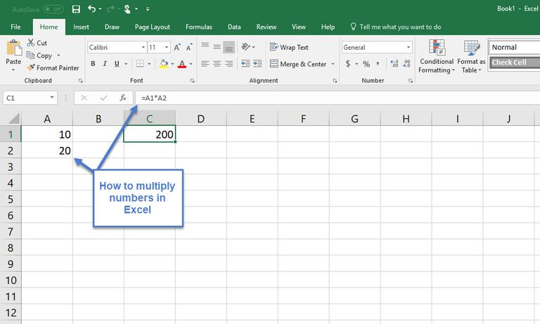 Microsoft Excel with numbers in cells and multiplication formula in formula bar.