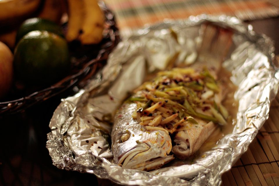 Oven-steamed whole fish
