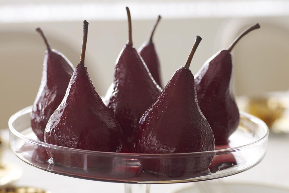 Wine poached pears in glass compote