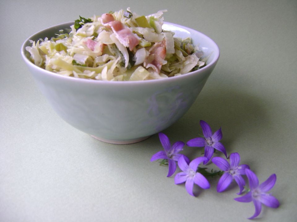 Cabbage, Bacon, Onion and Leek Stir-Fry