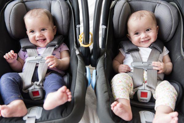 Caucasian twin baby girls