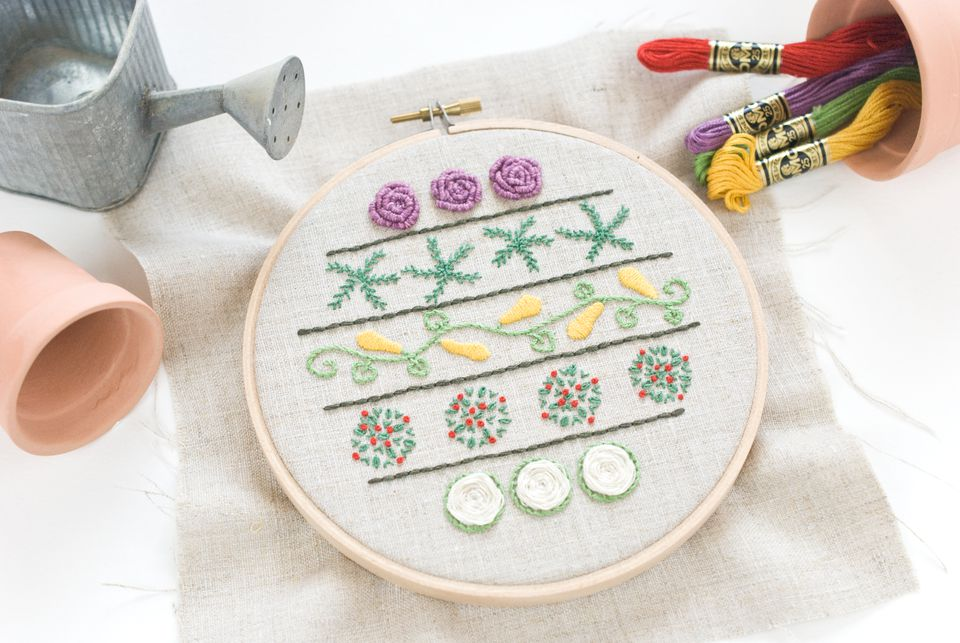 Embroider a Vegetable Garden While Practicing Stitches