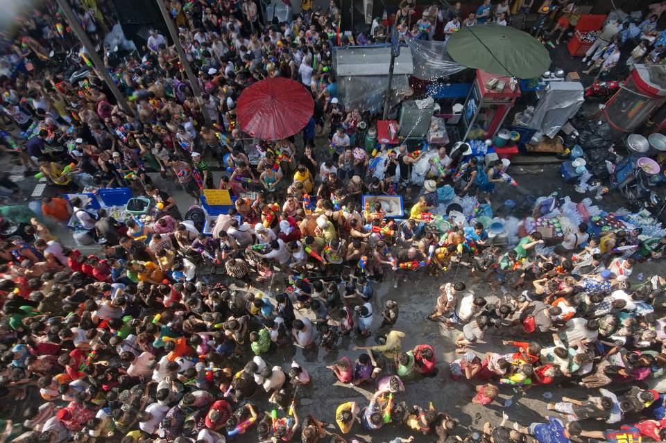 A Songkran water fight in Bangkok