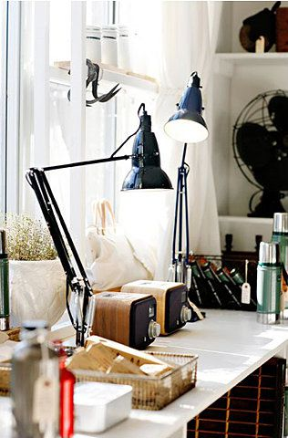 Desk with Lamps from Hither and Thither