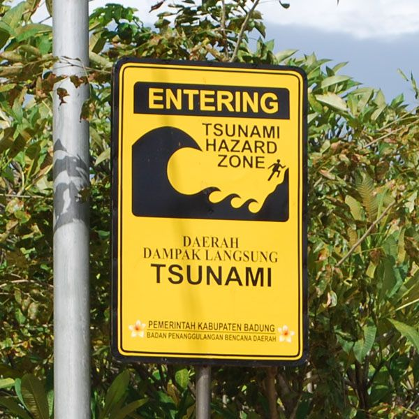 Tsunami warning sign in Tanjung Benoa, South Bali